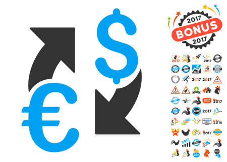 sync: Euro Dollar Exchange pictograph with bonus 2017 new year images. Glyph illustration style is flat iconic symbols,modern colors.