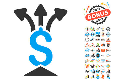 Financial Aggregator pictograph with bonus 2017 new year pictograms. Glyph illustration style is flat iconic symbols,modern colors.