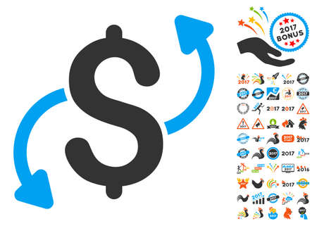 Money Transfer icon with bonus 2017 new year icon set. Glyph illustration style is flat iconic symbols,modern colors. Stock Photo