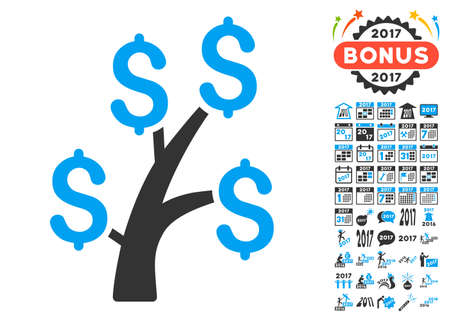 Money Tree icon with bonus 2017 new year clip art. Glyph illustration style is flat iconic symbols,modern colors.