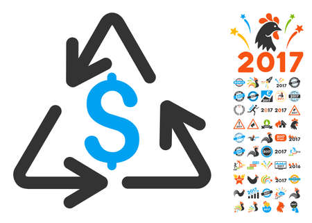 Recycling Cost pictograph with bonus 2017 new year clip art. Glyph illustration style is flat iconic symbols,modern colors.