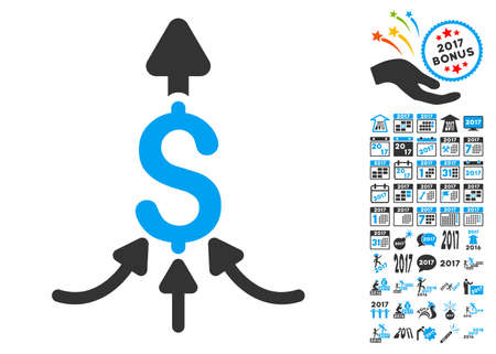 capital gains: Unite Payments icon with bonus 2017 new year pictures. Glyph illustration style is flat iconic symbols,modern colors.