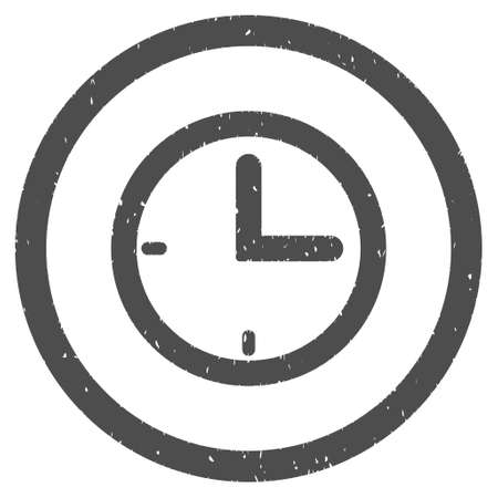 clockface: Time rubber seal stamp watermark. Icon symbol inside circle frame with grunge design and dust texture. Scratched glyph ink emblem on a white background.