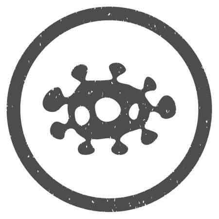 idler: Virus rubber seal stamp watermark. Icon symbol inside circle frame with grunge design and dirty texture. Scratched glyph ink emblem on a white background.