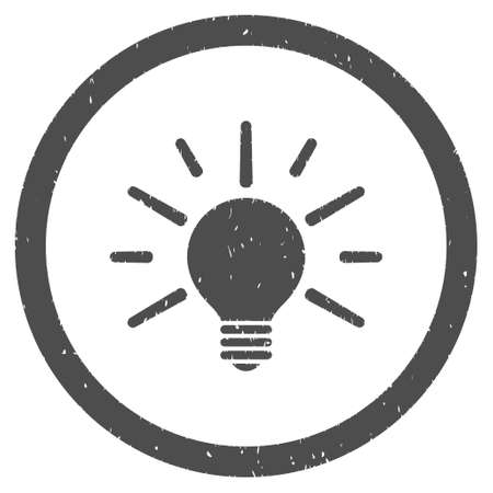 light emission: Light Bulb rubber seal stamp watermark. Icon symbol inside circle frame with grunge design and dirty texture. Scratched vector ink sign on a white background. Illustration