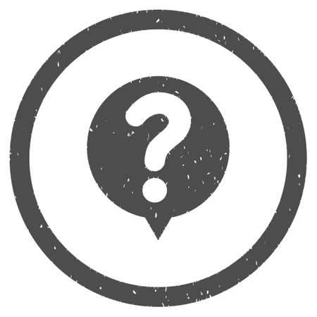 status icon: Status Query rubber seal stamp watermark. Icon symbol inside circle frame with grunge design and dust texture. Scratched vector ink emblem on a white background.