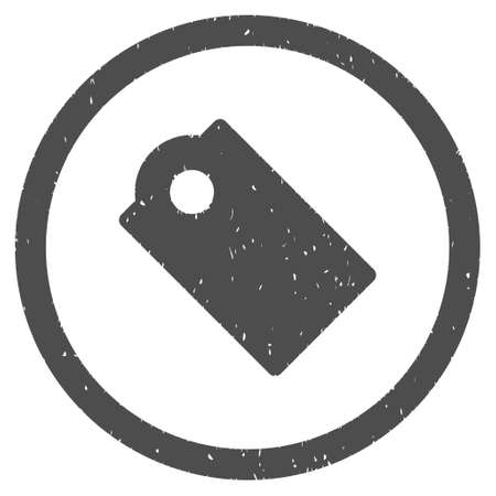 Tag rubber seal stamp watermark. Icon symbol inside circle frame with grunge design and dust texture. Scratched vector ink sticker on a white background.