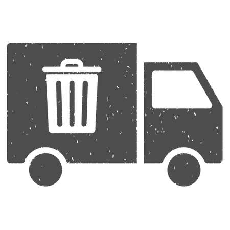 compost: Rubbish Transport Van rubber seal stamp watermark. Icon symbol with grunge design and dirty texture. Scratched glyph gray ink sticker on a white background. Stock Photo