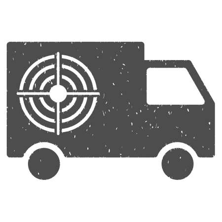 auto focus: Shooting Gallery Truck rubber seal stamp watermark. Icon symbol with grunge design and dirty texture. Scratched glyph gray ink sticker on a white background. Stock Photo