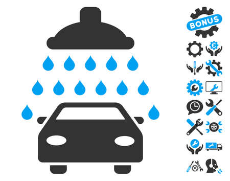 Car Shower icon with bonus options symbols. Vector illustration style is flat iconic blue and gray symbols on white background.