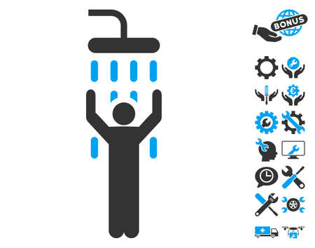 setup man: Man under Shower icon with bonus options images. Vector illustration style is flat iconic blue and gray symbols on white background.