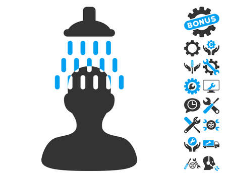 setup man: Man under Shower pictograph with bonus options images. Vector illustration style is flat iconic blue and gray symbols on white background.