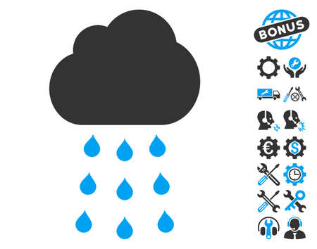 Rain Cloud pictograph with bonus service icon set. Vector illustration style is flat iconic blue and gray symbols on white background.