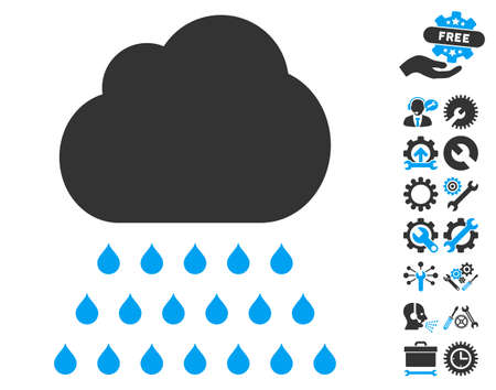 Rain Cloud pictograph with bonus settings pictograph collection. Vector illustration style is flat iconic blue and gray symbols on white background. Illustration