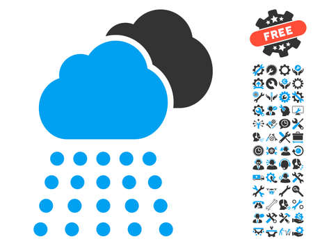 configure: Rain Clouds icon with bonus tools clip art. Vector illustration style is flat iconic blue and gray symbols on white background.