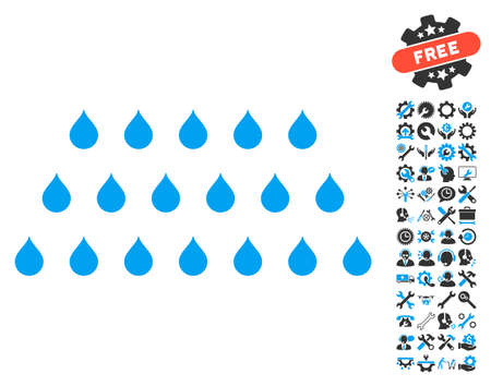 configure: Rain Drops icon with bonus tools pictograms. Vector illustration style is flat iconic blue and gray symbols on white background. Illustration