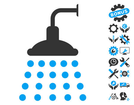 Shower icon with bonus options design elements. Vector illustration style is flat iconic blue and gray symbols on white background.
