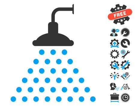 antiseptic: Shower pictograph with bonus configuration icon set. Vector illustration style is flat iconic blue and gray symbols on white background. Illustration