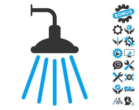 Shower pictograph with bonus configuration symbols. Vector illustration style is flat iconic blue and gray symbols on white background.