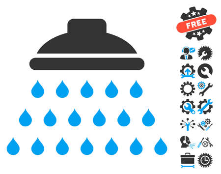 Shower pictograph with bonus options images. Vector illustration style is flat iconic blue and gray symbols on white background.