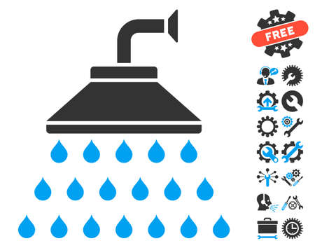 Shower pictograph with bonus service symbols. Vector illustration style is flat iconic blue and gray symbols on white background.