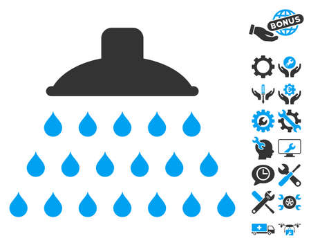 Shower icon with bonus tools icon set. Vector illustration style is flat iconic blue and gray symbols on white background.