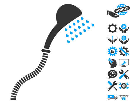 Shower pictograph with bonus service design elements. Vector illustration style is flat iconic blue and gray symbols on white background.