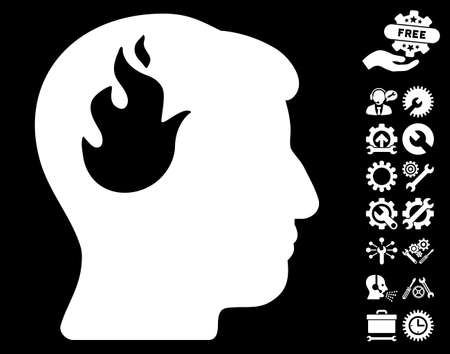 ruch: Brain Fire pictograph with bonus setup tools pictograms. Glyph illustration style is flat iconic symbols on white background.