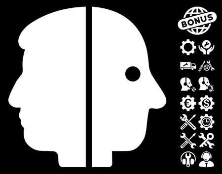 janus: Dual Face icon with bonus configuration pictograms. Glyph illustration style is flat iconic symbols on white background. Stock Photo