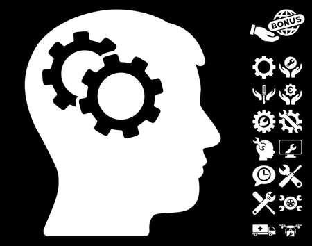 robo: Intellect Gears icon with bonus service symbols. Glyph illustration style is flat iconic symbols on white background.
