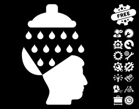 open source: Open Brain Shower icon with bonus setup tools graphic icons. Glyph illustration style is flat iconic symbols on white background.