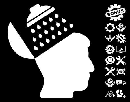 open source: Propaganda Brain Shower pictograph with bonus options design elements. Glyph illustration style is flat iconic symbols on white background.