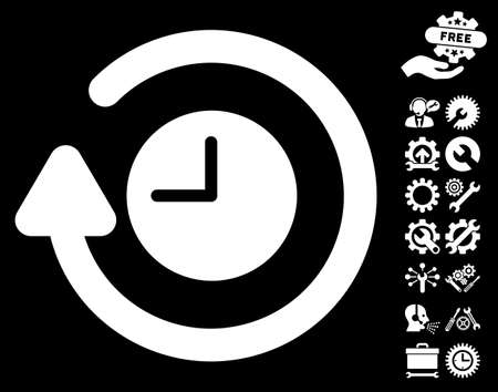 rewind icon: Repeat Clock icon with bonus service pictograph collection. Glyph illustration style is flat iconic symbols on white background.