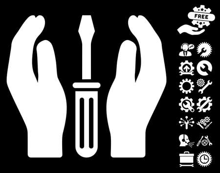 Tuning Screwdriver Care Hands icon with bonus service icon set. Glyph illustration style is flat iconic white symbols on black background.