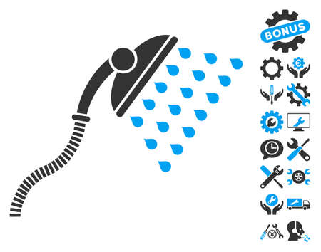 Shower pictograph with bonus tools images. Vector illustration style is flat iconic blue and gray symbols on white background.