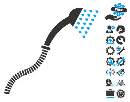 configuration: Shower icon with bonus options graphic icons. Vector illustration style is flat iconic blue and gray symbols on white background.