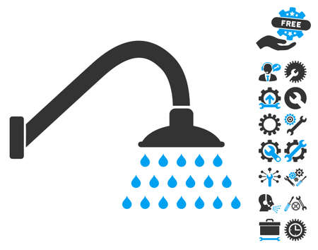 Shower pictograph with bonus tools clip art. Vector illustration style is flat iconic blue and gray symbols on white background.