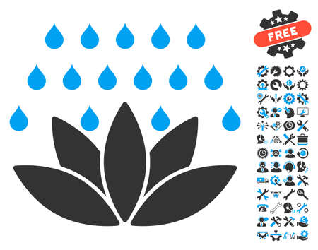 configure: Spa Shower icon with bonus tools pictograph collection. Vector illustration style is flat iconic blue and gray symbols on white background.