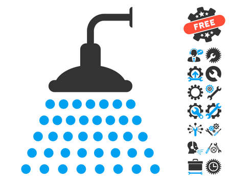 Shower pictograph with bonus setup tools pictograms. Glyph illustration style is flat iconic blue and gray symbols on white background.