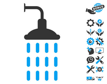 Shower icon with bonus tools clip art. Glyph illustration style is flat iconic blue and gray symbols on white background.
