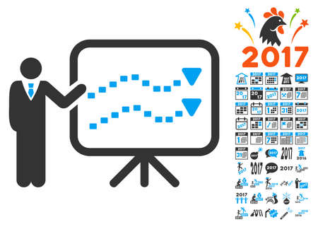 Trends Presentation icon with bonus 2017 new year clip art. Glyph illustration style is flat iconic symbols,modern colors. Stock Photo