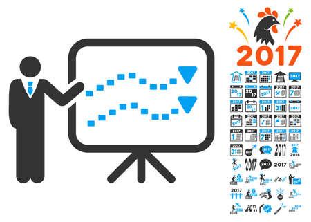 slideshow: Trends Presentation icon with bonus 2017 new year clip art. Glyph illustration style is flat iconic symbols,modern colors. Stock Photo