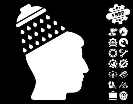 configuration: Brain Shower pictograph with bonus configuration images. Vector illustration style is flat iconic symbols on white background. Illustration