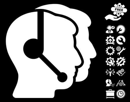 Llame icono de operadores del centro de con el clip configuración bono arte. estilo de ilustración vectorial símbolos icónicos es plana en el fondo blanco.