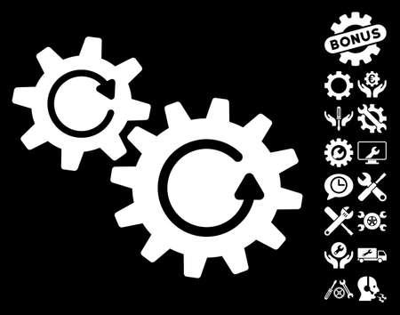 configuration: Cogs Rotation icon with bonus settings graphic icons. Vector illustration style is flat iconic symbols on white background. Illustration