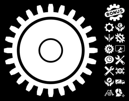 configuration: Cogwheel pictograph with bonus configuration pictures. Vector illustration style is flat iconic symbols on white background.