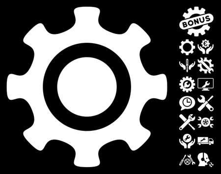 configuration: Cogwheel pictograph with bonus tools images. Vector illustration style is flat iconic symbols on white background.
