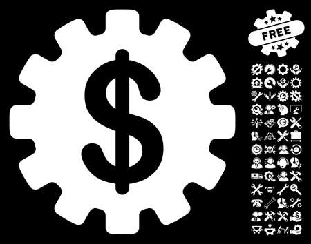 commerce and industry: Development Cost icon with bonus options pictograms. Vector illustration style is flat iconic symbols on white background.
