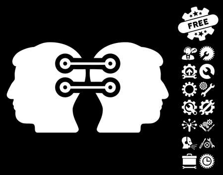 persona: Dual Heads Interface Connection pictograph with bonus service images. Vector illustration style is flat iconic symbols on white background.