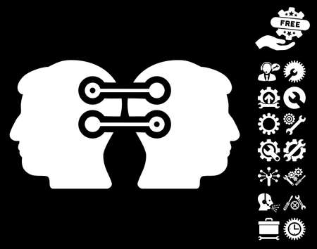 configuration: Dual Heads Interface Connection icon with bonus options design elements. Vector illustration style is flat iconic white symbols on black background.